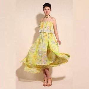 Urban Outfitters Kimchi Blue Mellow Yellow Pleated Maxi Dress Small